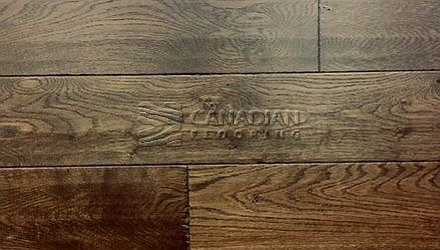 "Engineered White Oak, <br>Brand Surfaces, <br> 6-1/2"" x 3/4"",  <br> Color:Smoked Tobacco"