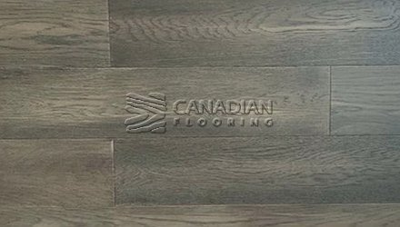 "White Oak, Canfloor AN, 5.0"" x 3/4"", Wire-Brushed FinishColor:  Charcoal Engineered flooring"