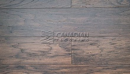 "Engineered Hickory <br>Canfloor, 6.5"" x 3/4""<br>Hand-Scraped & Distressed<br>Color:  Coffee"