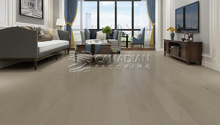 "Engineered White Oak,  Biyork, 7-1/2"" x 3/4""<br> Color: French Truffle"