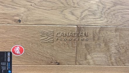 "Engineered White Oak<br> Superior Enhanced <br>5.0"" x 3/4""<br>Hand-Scraped Finish<br> Color: Sandstone"