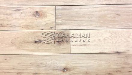 "Solid Hickory, CANFLOOR,5.0"" x 3/4"",  Hand-Scraped Finish, Color: Natural HARDWOOD FLOORING"